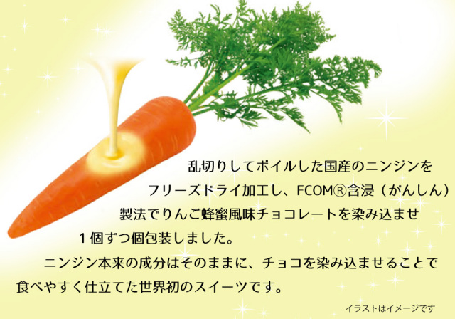 世界初!国産にんじんにりんご蜂蜜風味チョコを染み込ませた野菜スイーツ「うさぎの魔法」