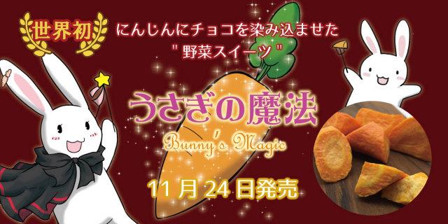 世界初!国産にんじんにりんご蜂蜜チョコを染み込ませた野菜スイーツが発売決定!