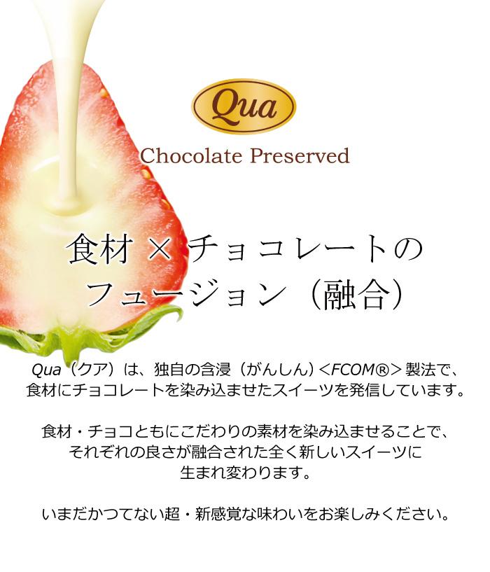「Qua」の染み込みの秘密は素材・チョコレート・染み込み製法からなります